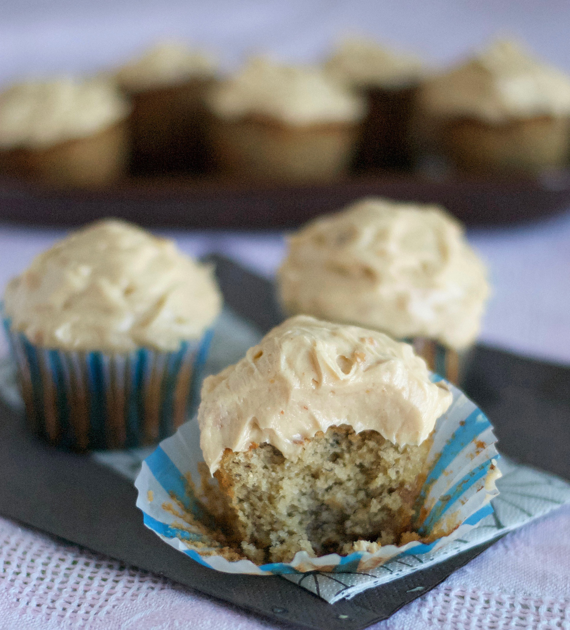 Banana Cupcake with Peanut Butter Frosting Gluten Free